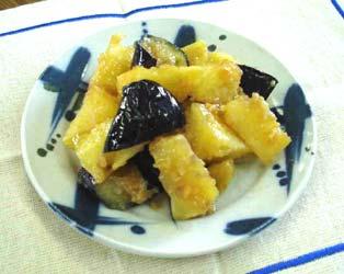 ジャガイモとなすの味噌炒め